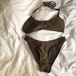 Other - Olive halter tie bikini set